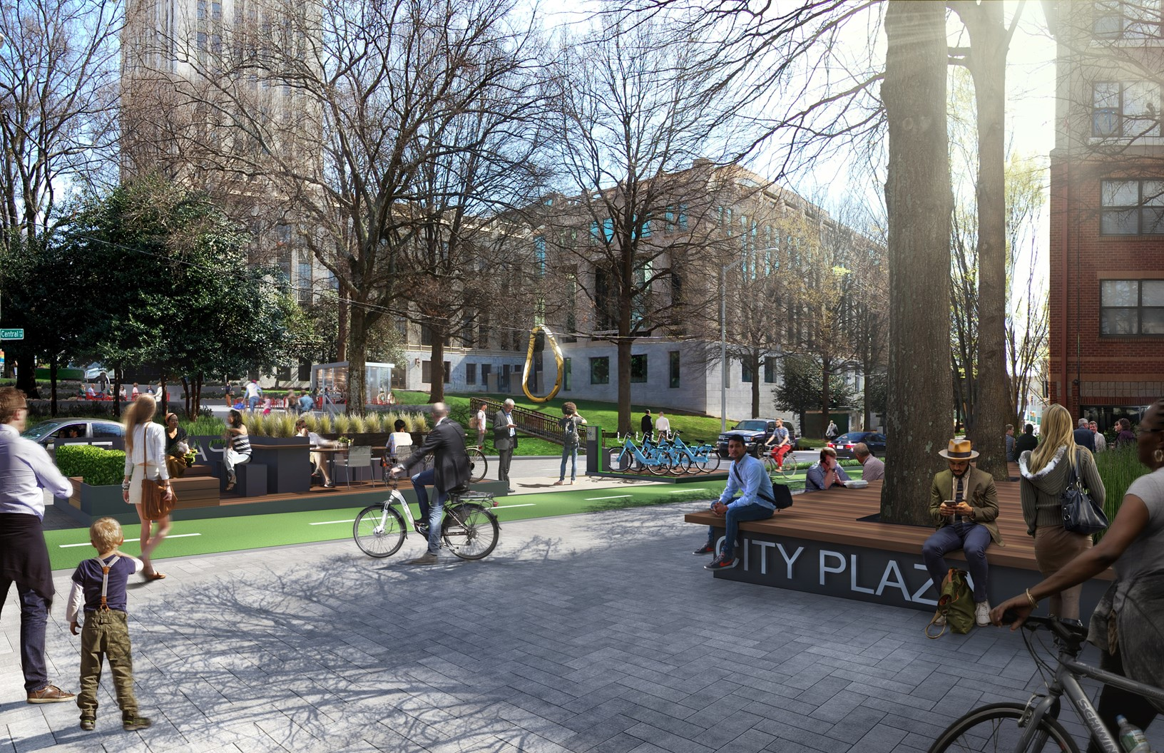 Redesigned City Plaza and parklet (courtesy of Perkins+Will)