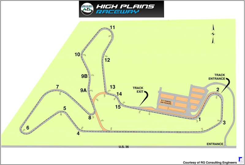 High Plains Raceway   Track is located 17 miles East of Byers. Visit the  HPR web page  for directions and further track details.