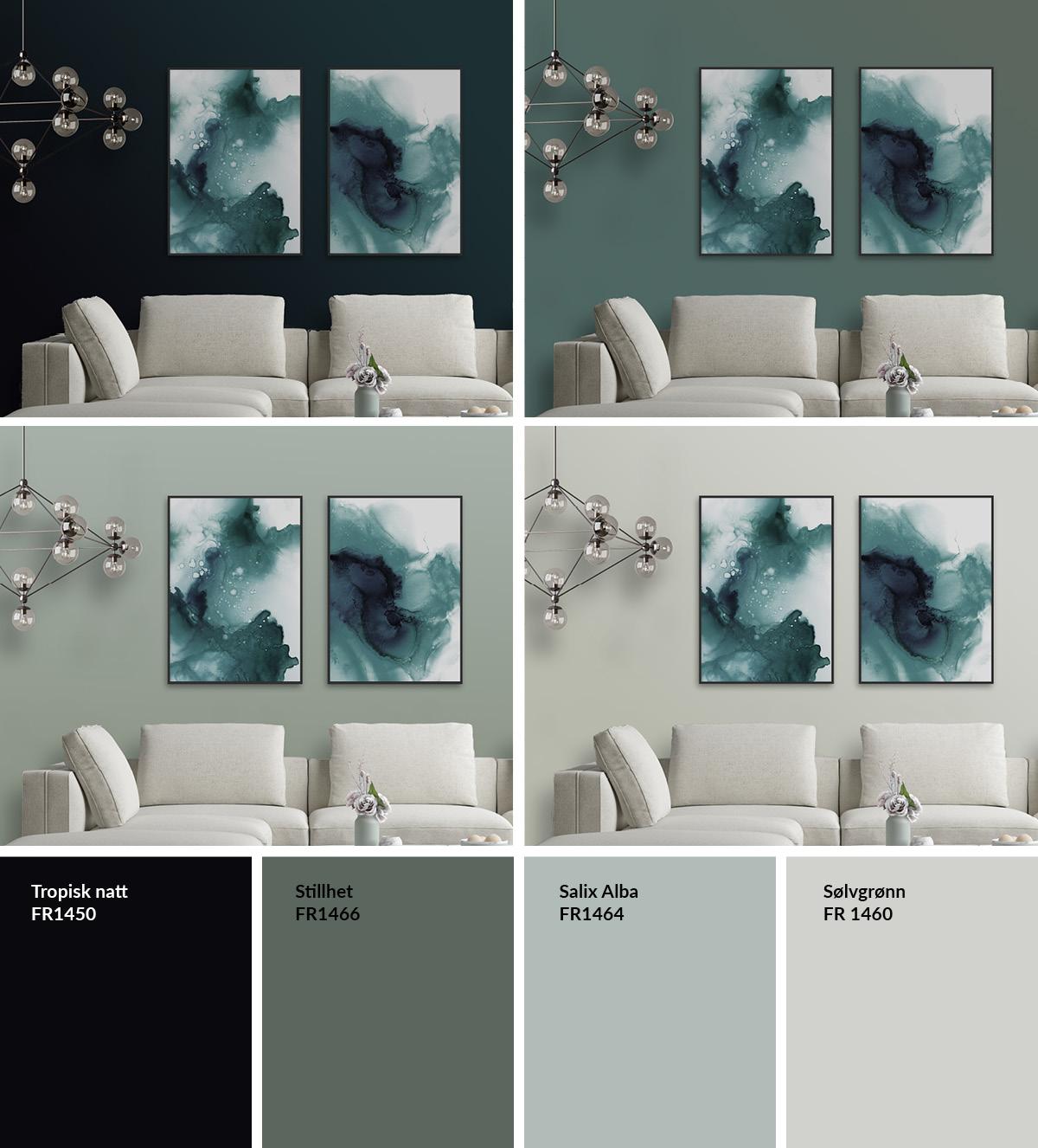 Bildene Everlasting Green og Floating passer utmerket sammen med noen av de flotte grønnfargene som Fargerike kåret til Årets Farge 2019.