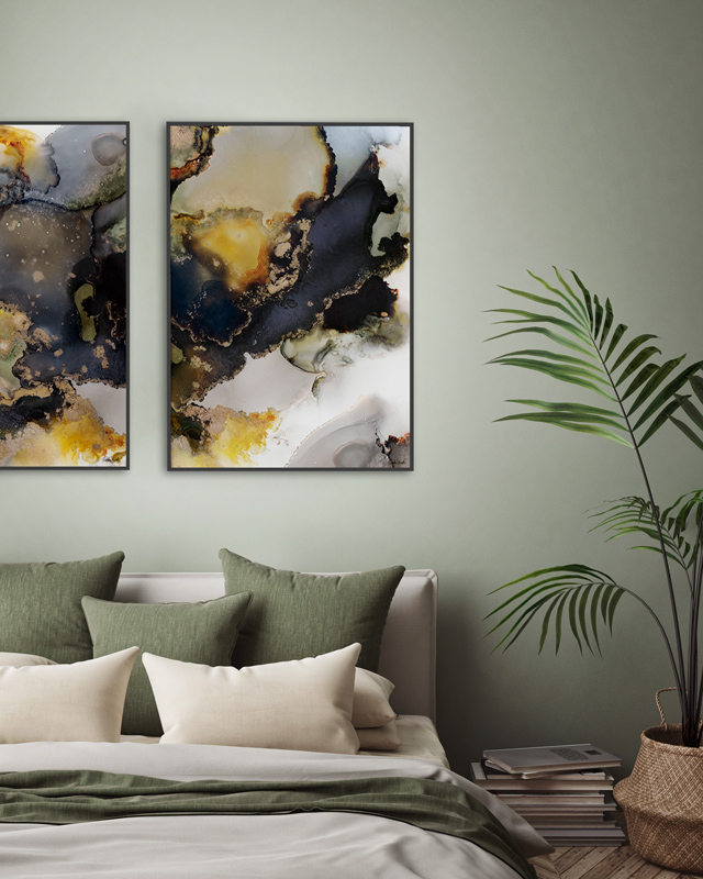 "Bildene  ""Inhale""  og  ""Exhale""  i størrelse 50x70 cm med ramme, 499,- pr. stk."