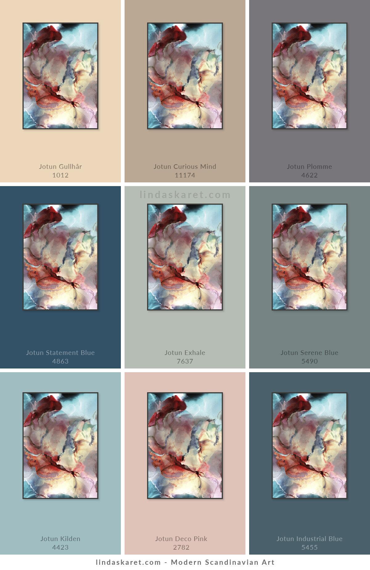 Om du vil se nærmere på hver enkelt av fargene fra Jotun Lady kan du klikke deg inn på dem her:  Gullhår ,  Curious Mind ,  Plomme ,  Statement Blue ,  Exhale ,  Serene Blue ,  Kilden ,  Deco Pink ,  Industrial Blue . Flere av disse fargene hører til Jotun sitt fargekart for våren 2020 - se katalogen til Jotun Lady 2020  her .