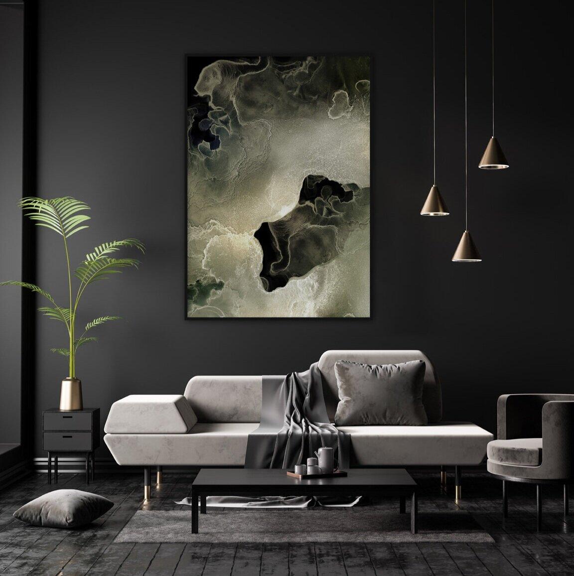 Bildet Blooming Soft Green passer godt til både mørke og lyse vegger.