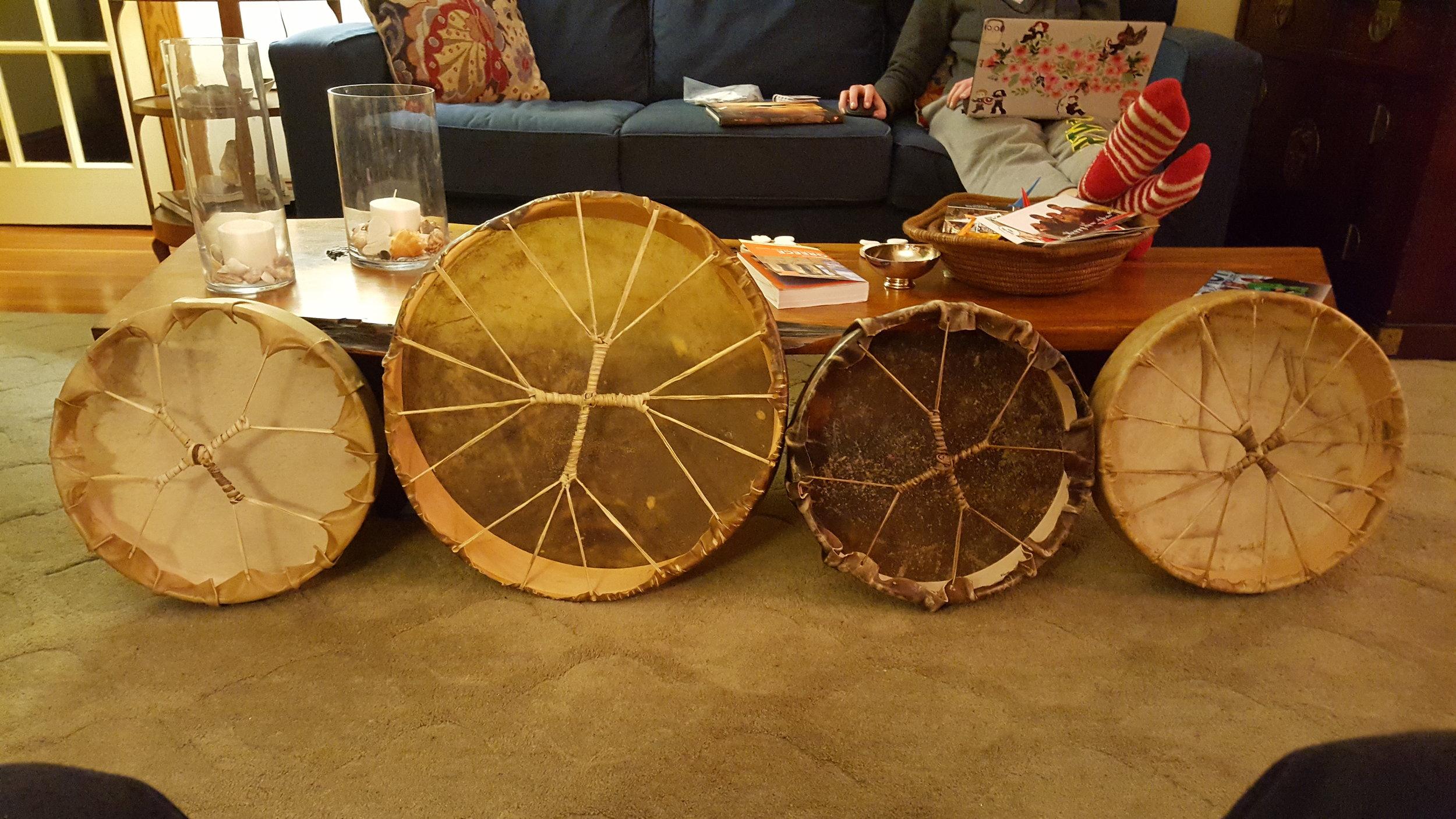 Elk, Moose, Horse and Deer drums - backs shown