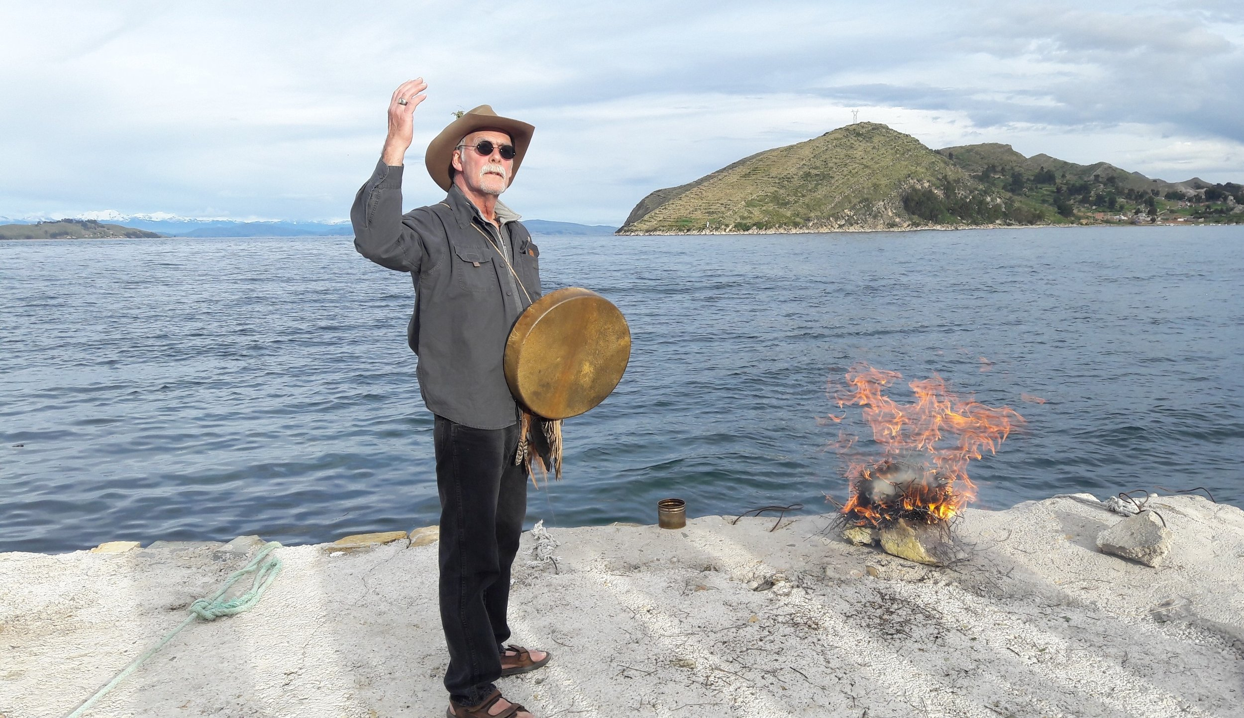 Fire Ceremony at the shore of the Island of the Sun, Lake titicaca, bolivia