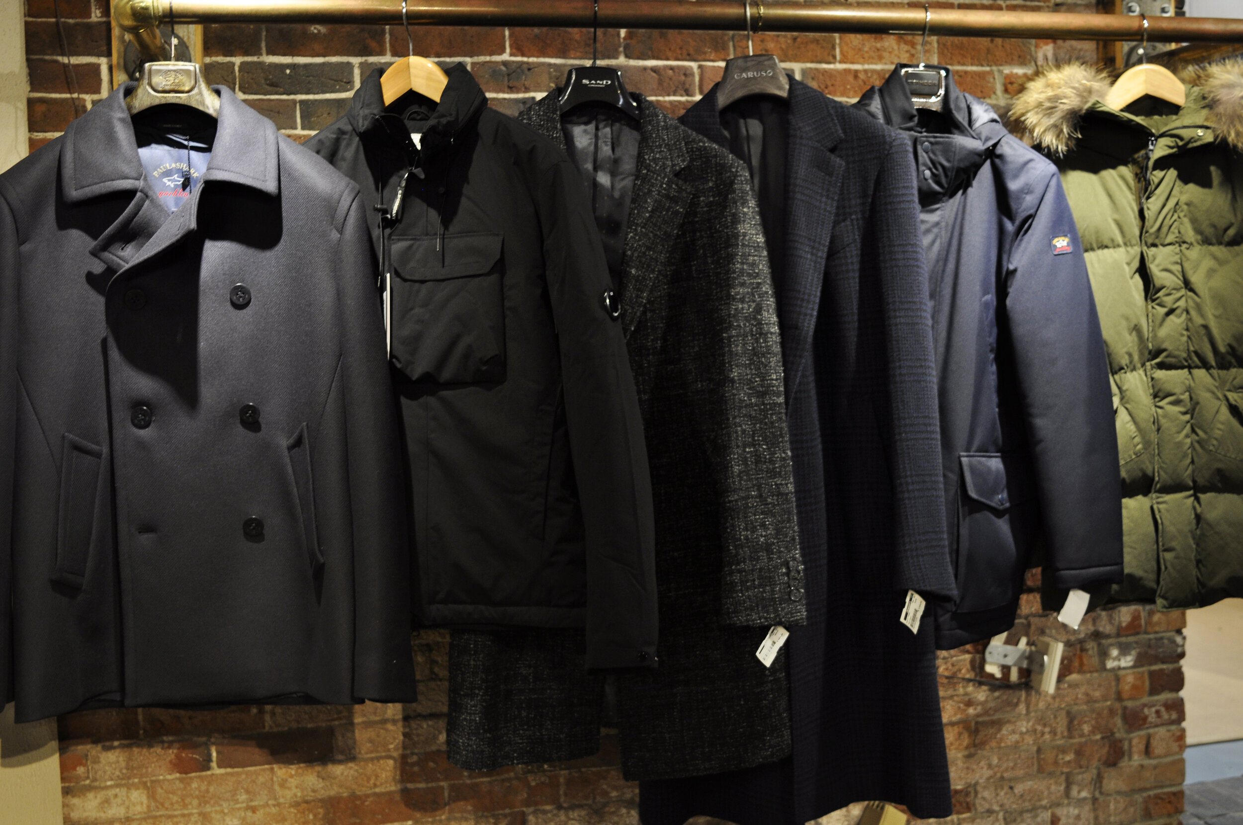 Some of our Fall Outerwear: L-R Paul & Shark, CP Company, Sand, Caruso, Paul & Shark, CP Company