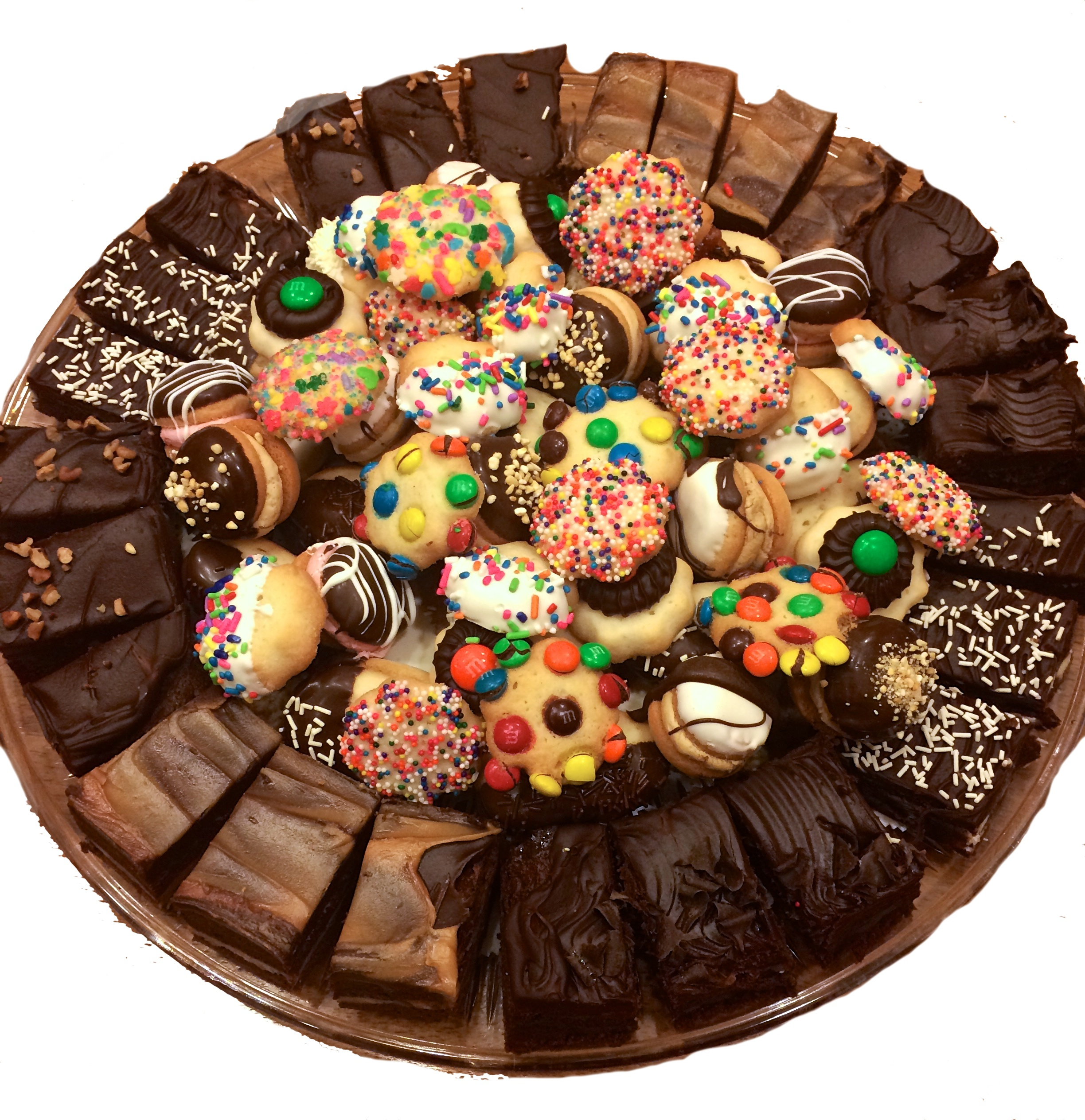 Brownie and Cookie Tray - 8 Brownies cut in thirds surrounding 2 lbs of assorted butter cookies$59.00