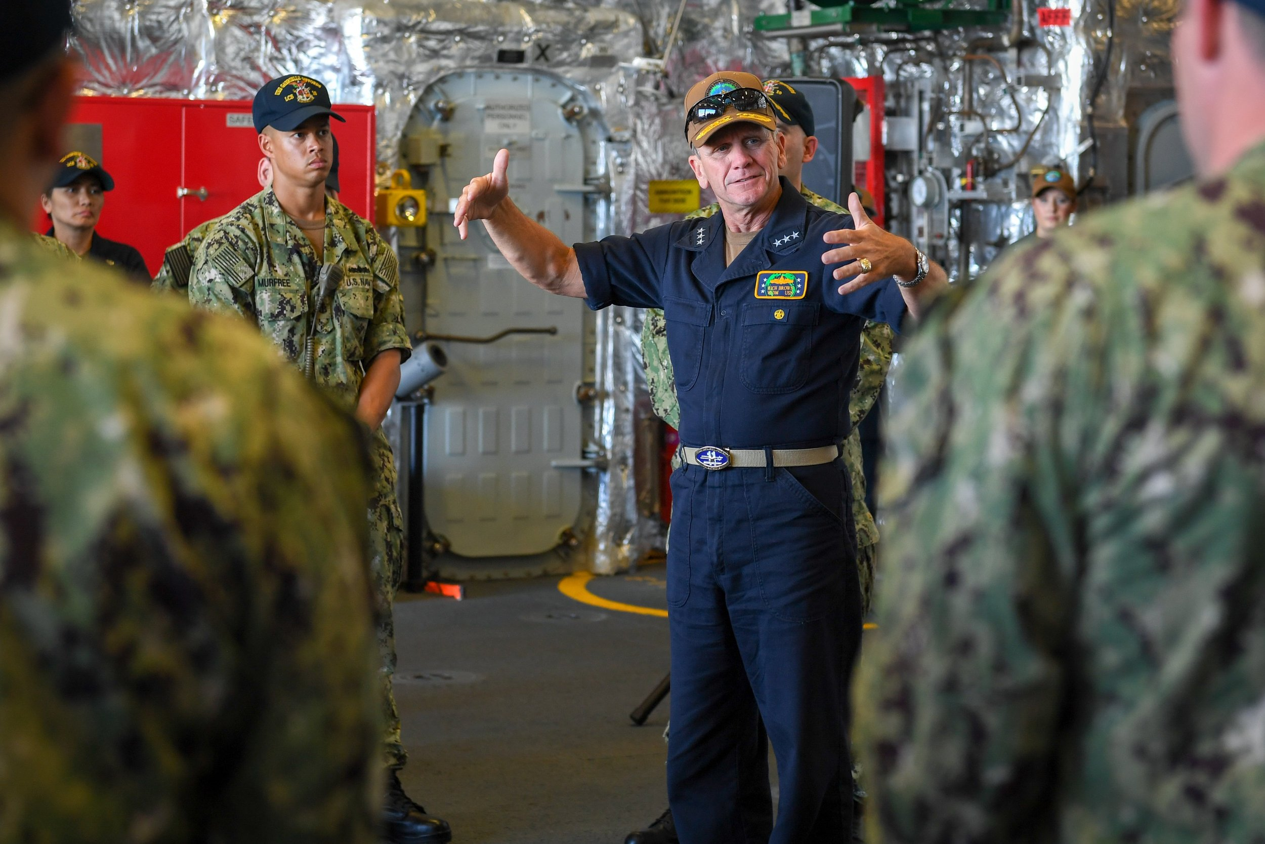 Vice Adm. Richard Brown, Commander, Naval Surface Force, U.S. Pacific Fleet, addresses Sailors assigned to USS Gabrielle Giffords (LCS-10) on Aug. 26, 2019. US Navy Photo
