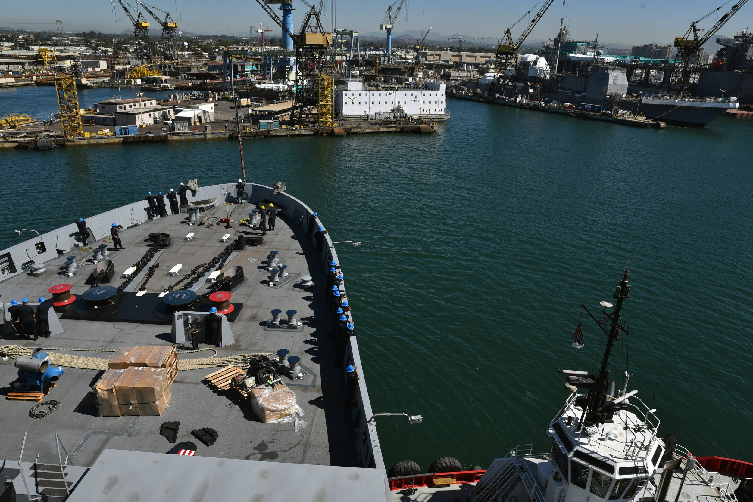 USS Somerset (LPD-25) arrives at General Dynamic's NASSCO shipyard in San Diego for a planned Chief of Naval Operations maintenance availability in 2017. US Navy Photo