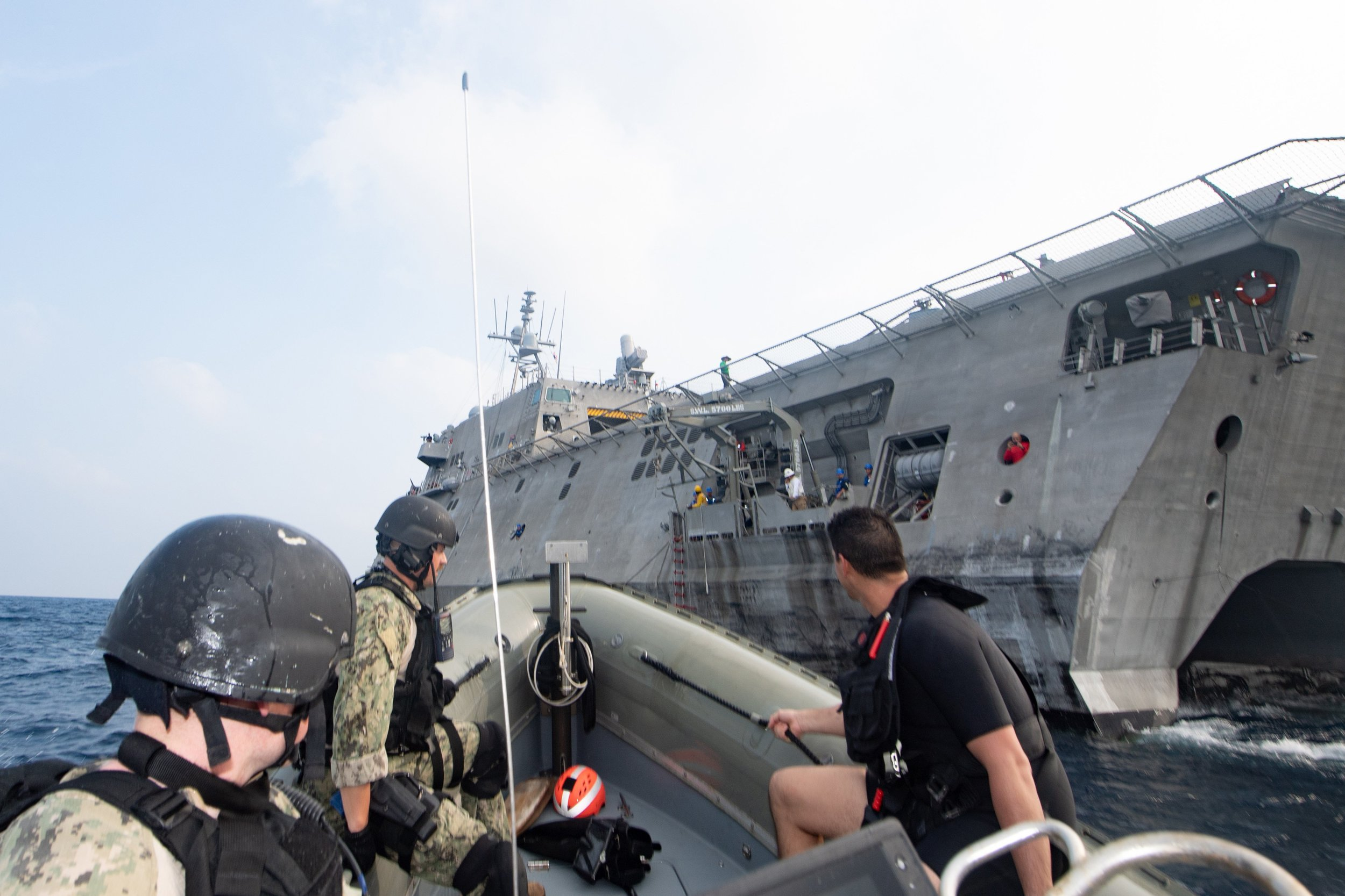 GULF OF THAILAND (Sept. 4, 2019) – U.S. Navy Sailors return to the Independence-variant littoral combat ship USS Montgomery (LCS 8) following a visit, board, search, and seizure (VBSS) drill as part of the ASEAN-U.S. Maritime Exercise (AUMX). Navy photo
