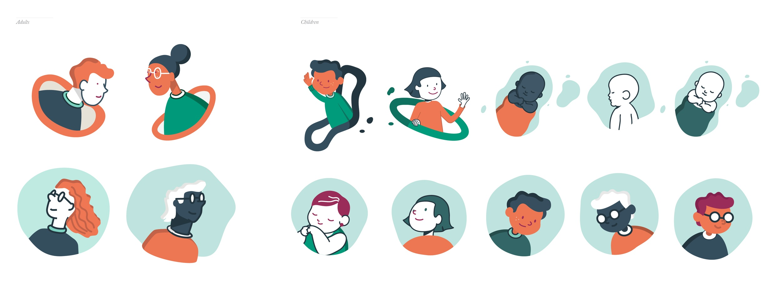 It was essential for us to create design guidelines to keep consistency throughout all the designers and animators involved in this project. Patients will most always be infants or kids, please double check with Theresa so she can get approval from client. Colors of characters may vary as long as they are within the given color pallet.