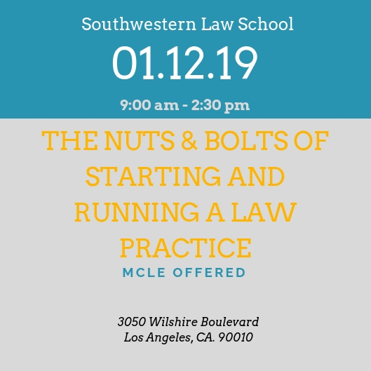 The nuts and bolts of starting and running a law practice - According to the American Bar Association, over 49% of attorneys in private practice are solo practitioners. On October 12, 2019 Jaia Thomas will co-teach a comprehensive seminar about the nuts and bolts of how to successfully launch and sustain a solo or small law firm practice. Click here for more information and to register.