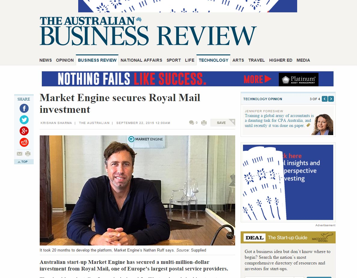 Market Engine secures Royal Mail investment