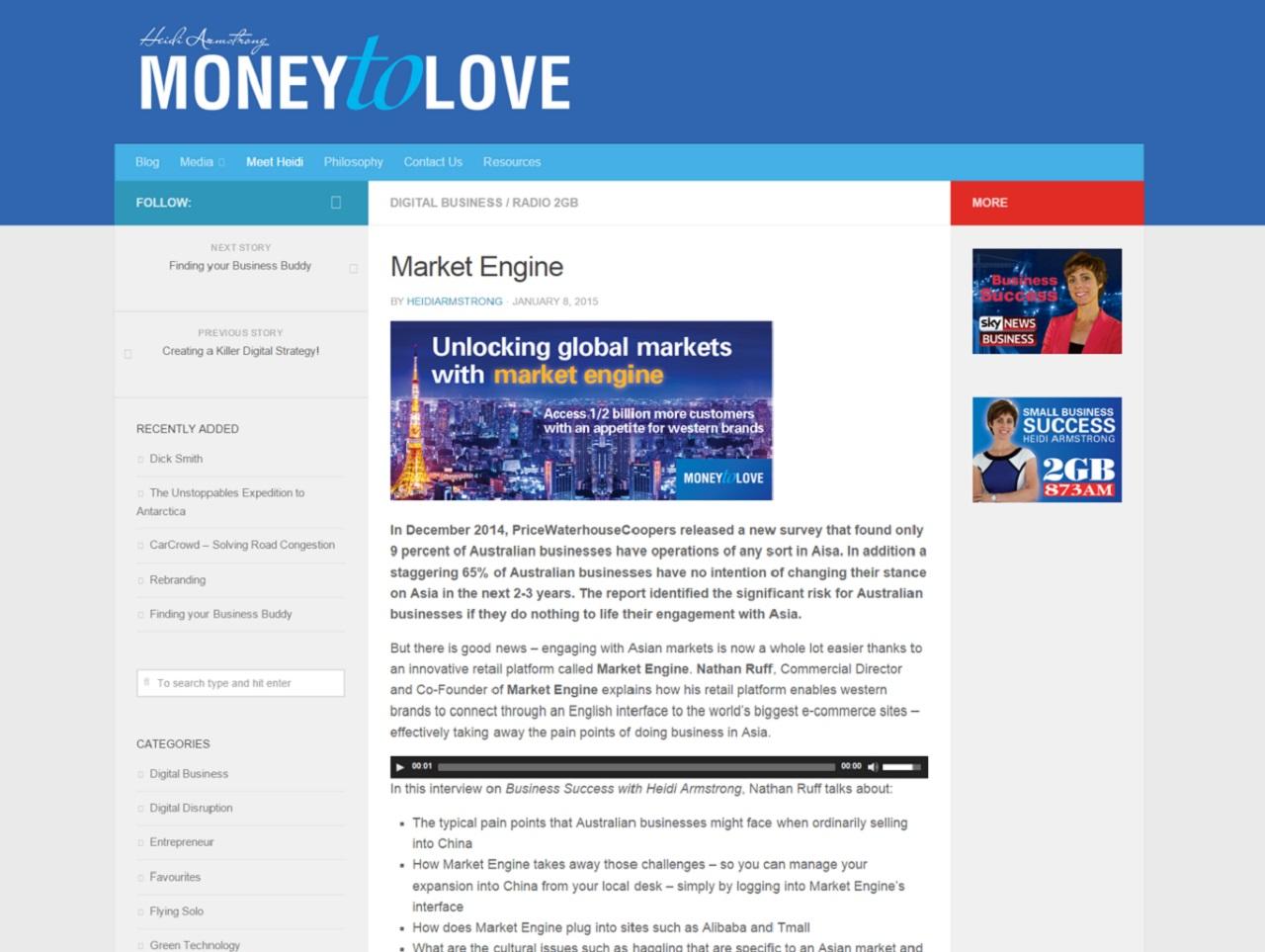 Market Engine on Money To Love