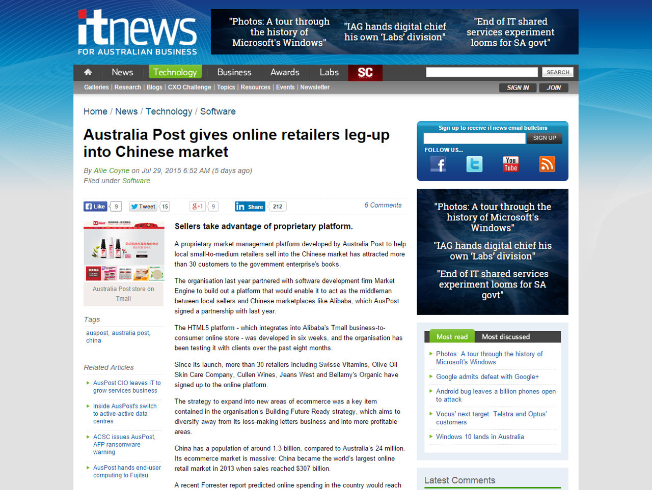 itnews - Australia Post gives online retailers leg-up into Chinese Market