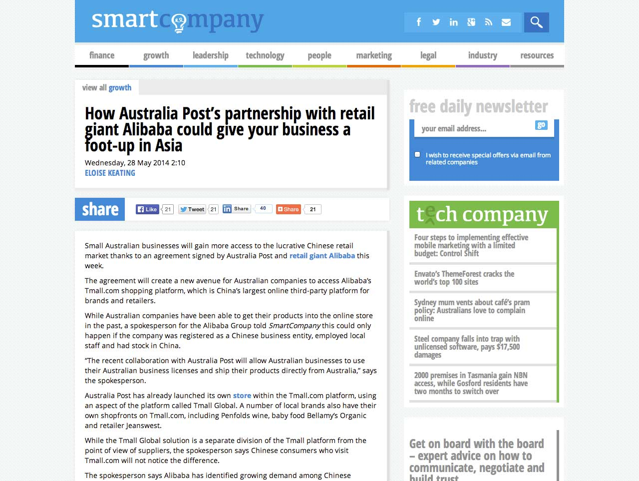 How Australia Post's partnership with retail giant Alibaba could give your business a foot-up in Asia