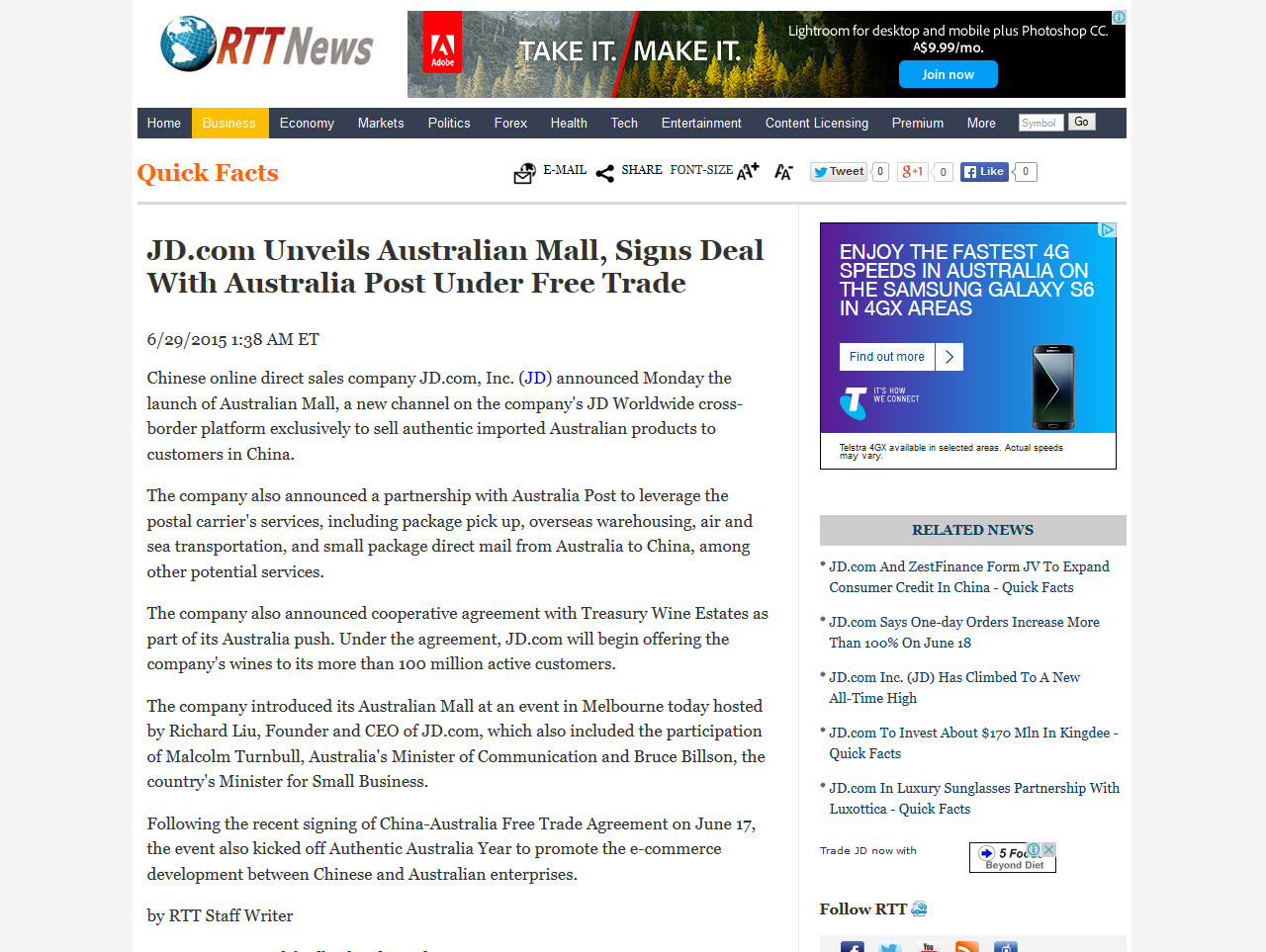 JD.com Unveils Australian Mall