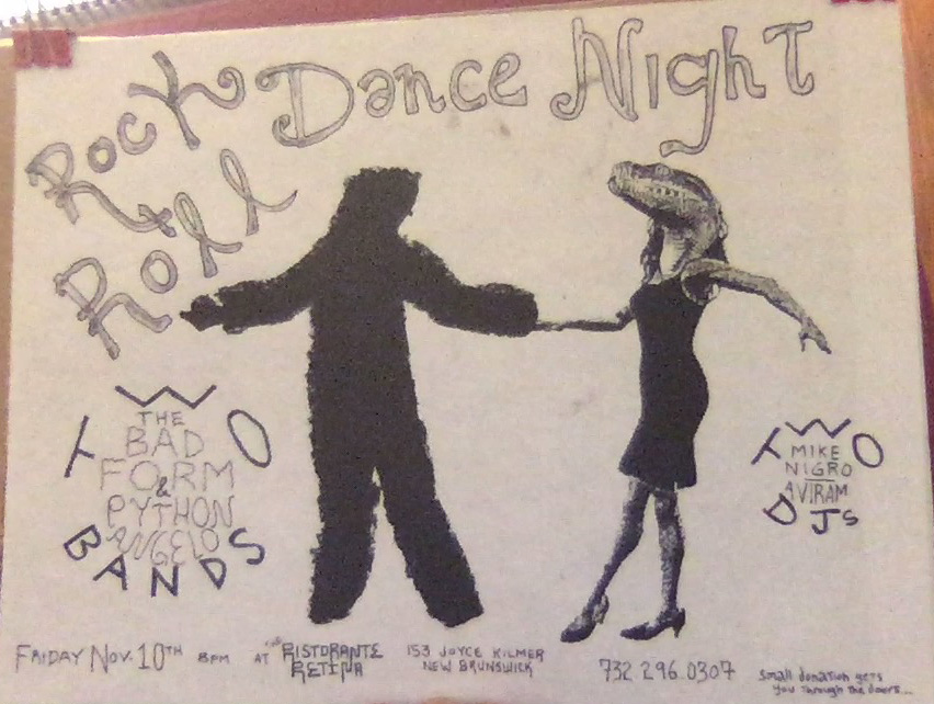 Jared's flyer for the Rock & Roll Dance Night