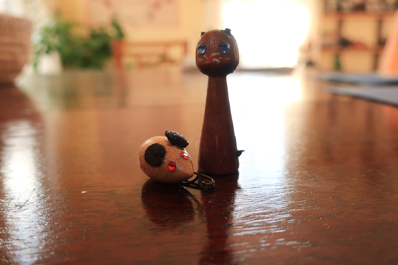 Mother's cat and mouse pins removed from garage sale table.