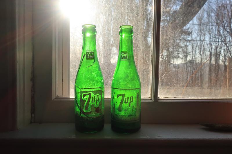 Glass bottles taken from burn site along Skyline Drive.