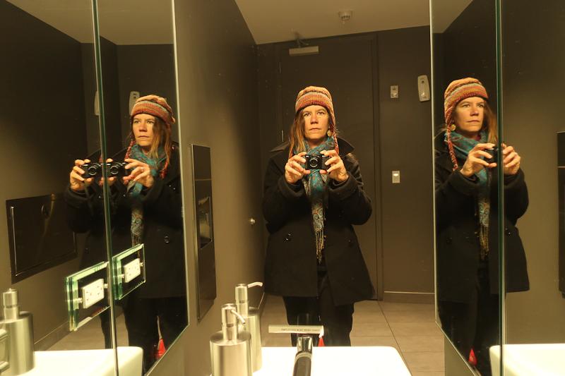 Self-portrait before, International Center for Photography bathroom, New York, New York, January 13, 2019
