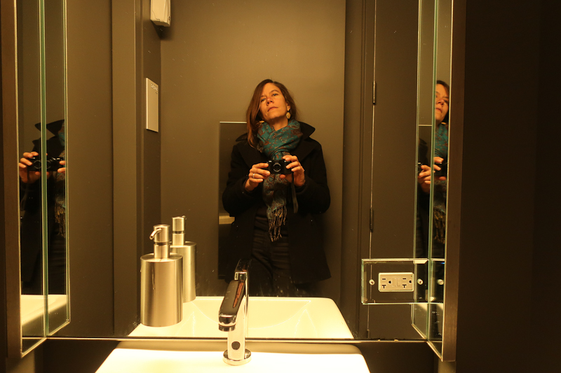 Self-portrait after visiting the galleries, International Center for Photography bathroom, New York, New York, January 13, 2019