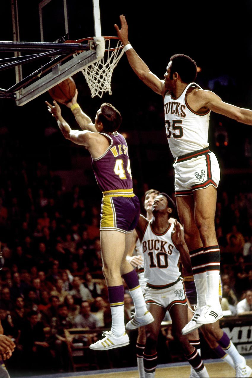 Jerry West wearing Adidas Superstars