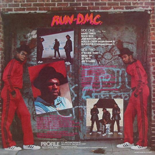 The CD backcover of RUN-D.M.C.'s debut album from 1984, showing off their Adidas tracksuits and Adidas Superstars