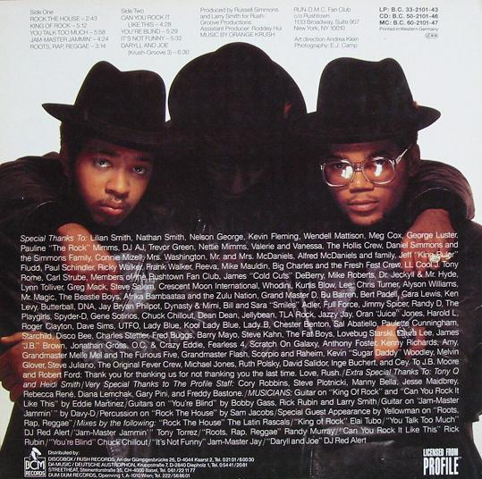 "The back cover of Run-DMC's ""King of Rock"" album"