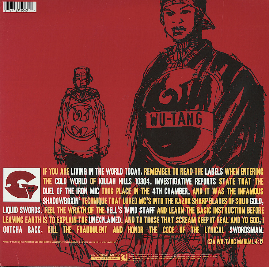 The back cover of Liquid Swords showing the tracklist and some artwork