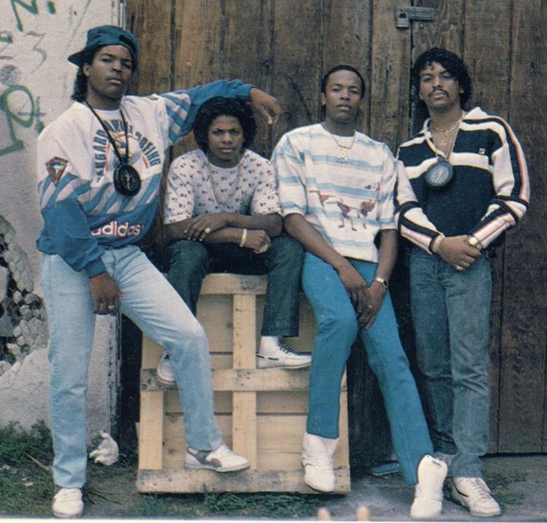 Ice-Cube, Eazy-E, Dr. Dre &Arabian Prince circa 1987