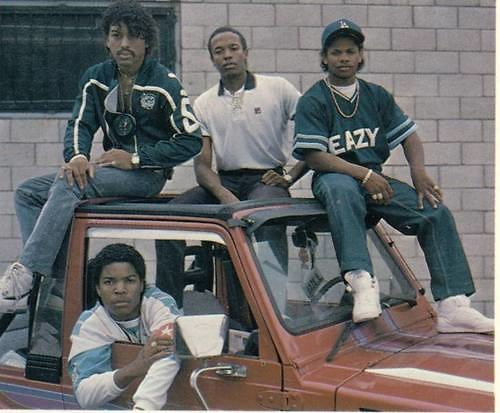 Top:Arabian Prince, Dr. Dre, Eazy-E Bottom: Ice-Cube