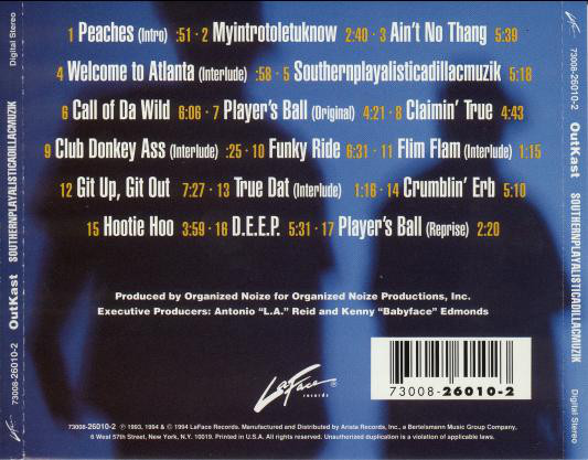 The CD backcover of OutKast's Southernplayalisticadillacmuzik (1994)
