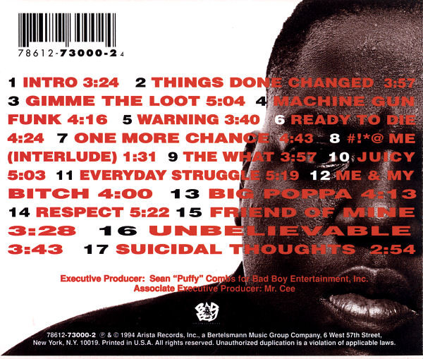 "Back cover tracklist from The Notorious B.I.G.'s ""Ready To Die"" (1994 CD)"