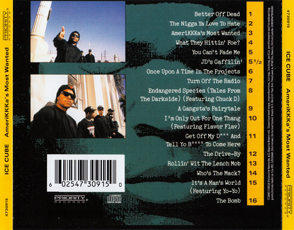 CD back cover and tracklist of Ice-Cube's AmeriKKKa's Most Wanted