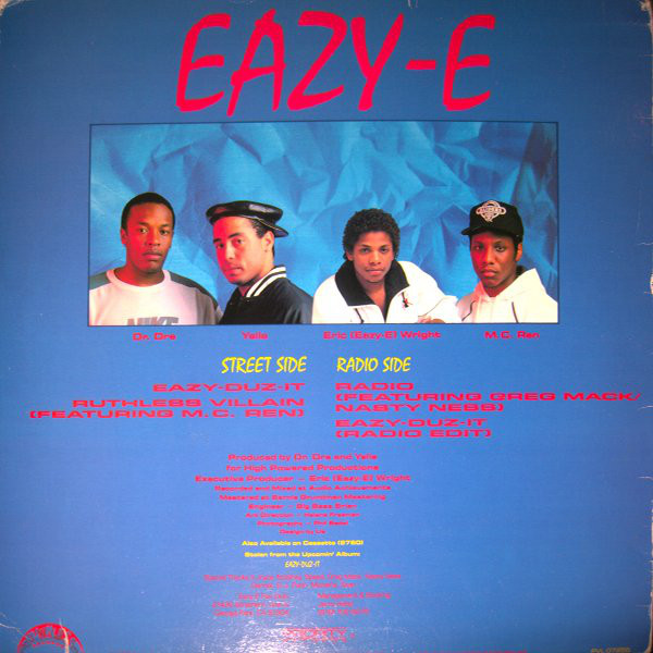 """The back cover for """"Radio - Eazy-Duz-It - Ruthless Villian"""" containing a """"street side"""" and a """"radio side""""."""