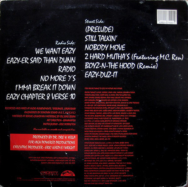 Old, banged up vinyl of  Eazy-Duz-It  showing the track list and credits