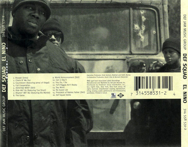 The back cover of the  El Niño  CD showing the tracklist and another classic b&w photo