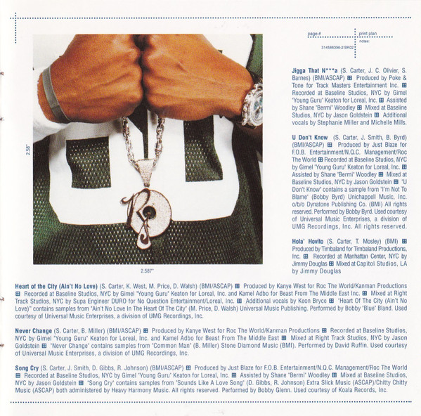Jay-Z repping his street conscious record label Roc-A-Fella with blinged out jewelry in the artwork for  The Blueprint