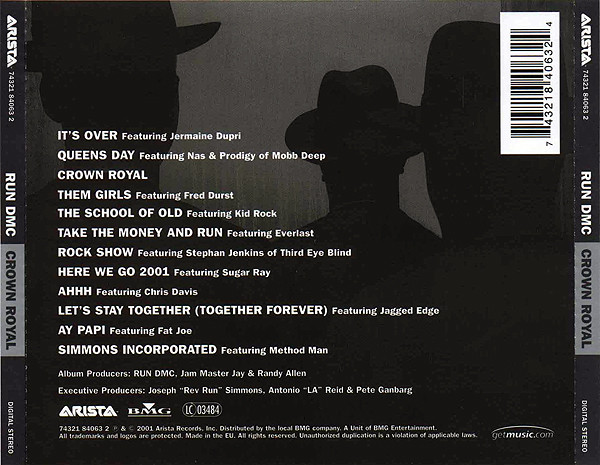The back cover of  Crown Royal  shows the silhouettes of trio as if they are leaving, it also shows the track list.