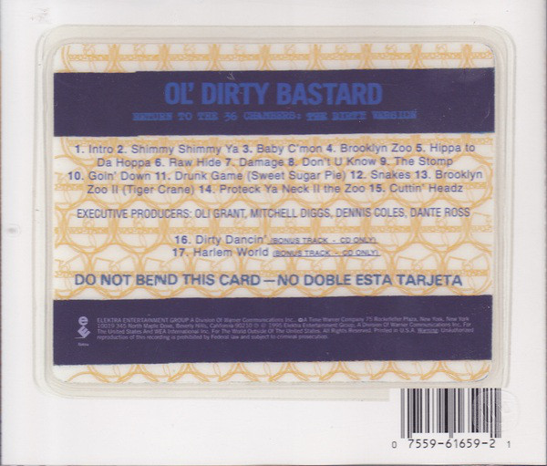 The whole ID card concept is very original and  Return to the 36 Chambers  is considered a classic album cover. This is the back and shows the track list.