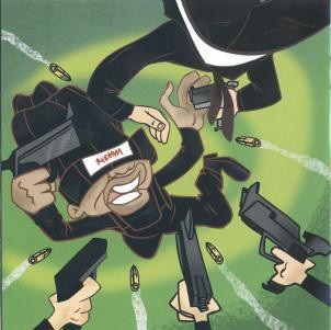 Redman's Doc cartoon character dodging bullets in the  Malpractice  album artwork