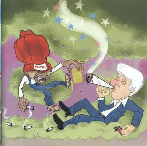 Doc smoking weed with Bill Clinton (from  Malpractice  artwork)