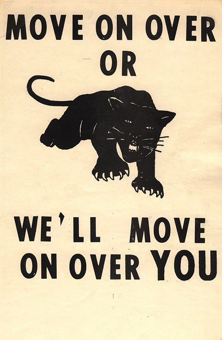 A poster from the black supremacist/revolutionary group The Black Panther Party showing one of their typically violent slogans.