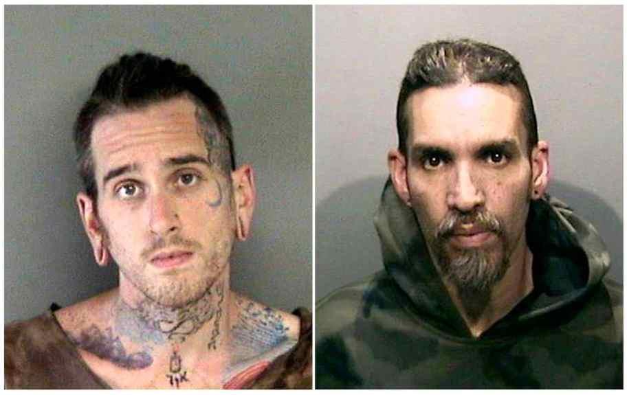 Las fotos de reserva que se muestran muestran a Max Harris, a la izquierda, y a Derick Almena en la cárcel de Santa Rita en el condado de Alameda, California.