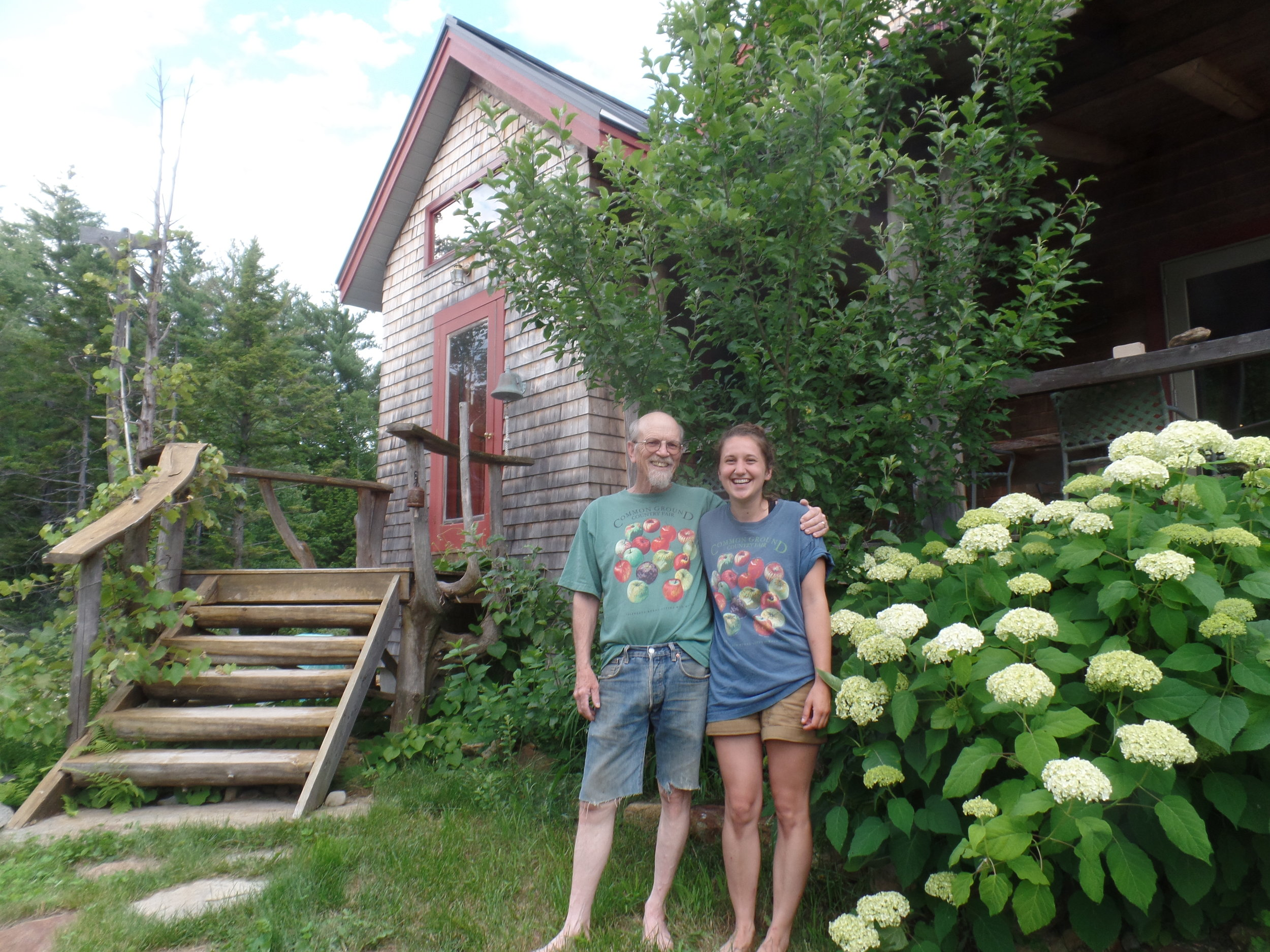 John Bunker & Laura Sieger in the new apple t-shirts at Super Chilly Farm in Palermo, ME photo by Kip Sieger