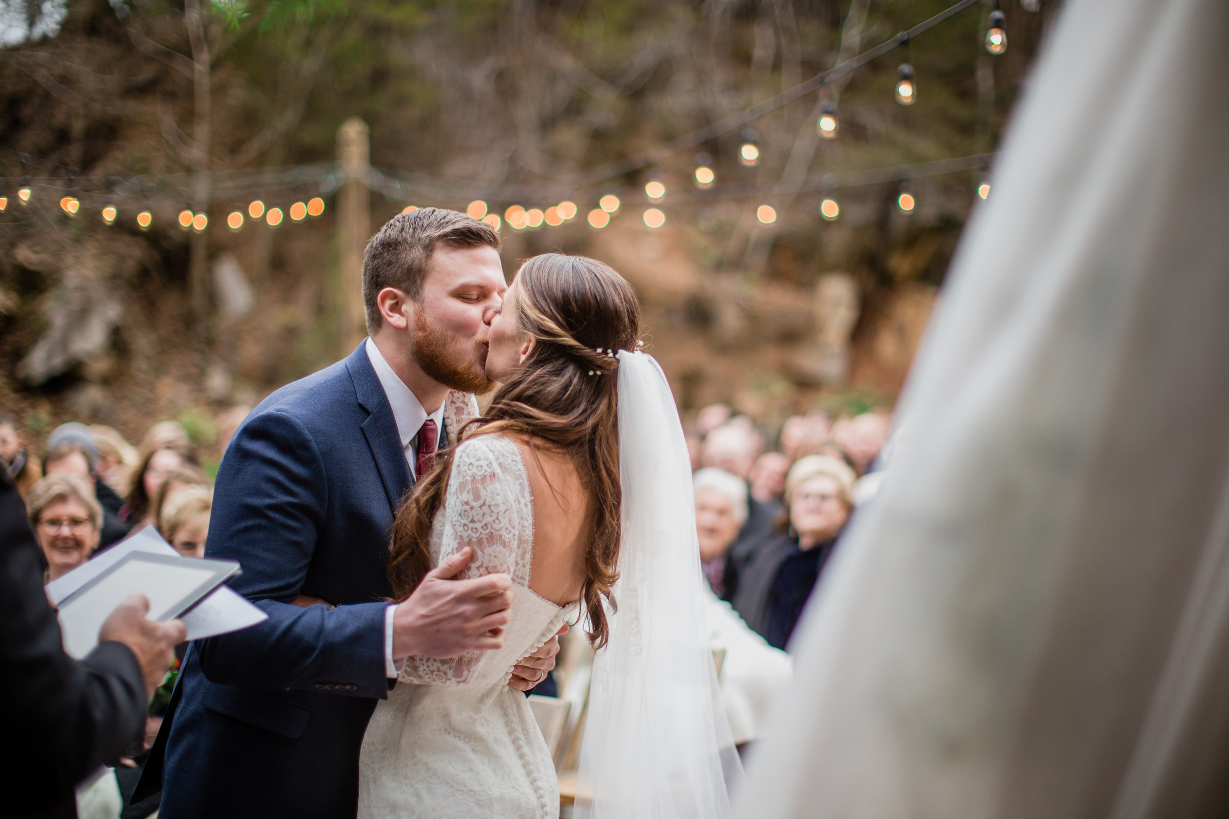 Knoxville Wedding, Quarry Venue First Kiss