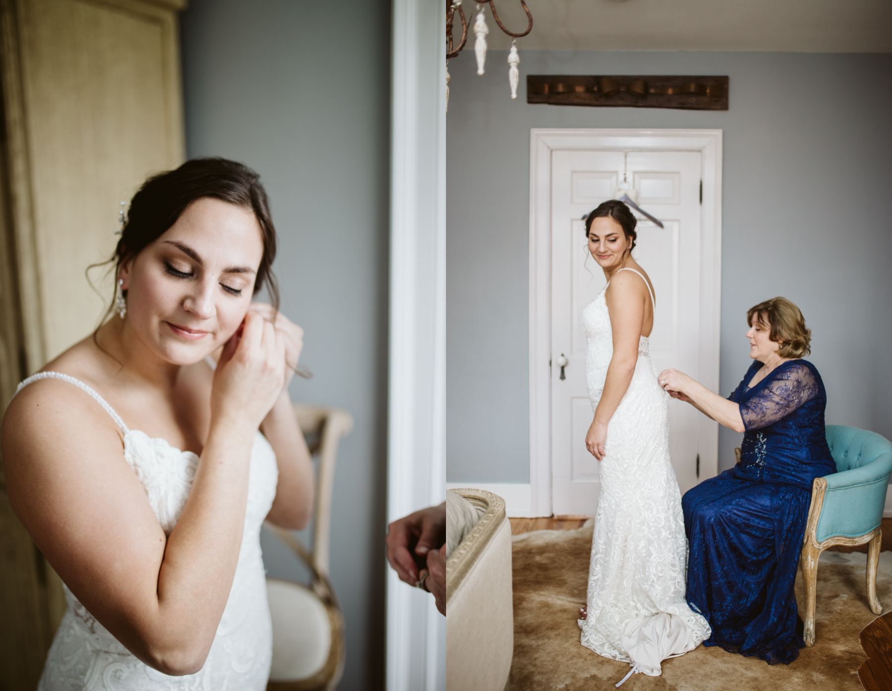 Bride putting on her earrings and her dress from Clarice's bridal at stone house of st charles in Missouri