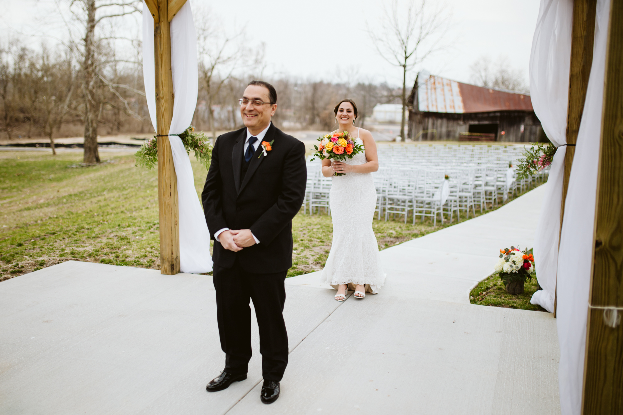 father daughter first look at stone house of st charles wedding