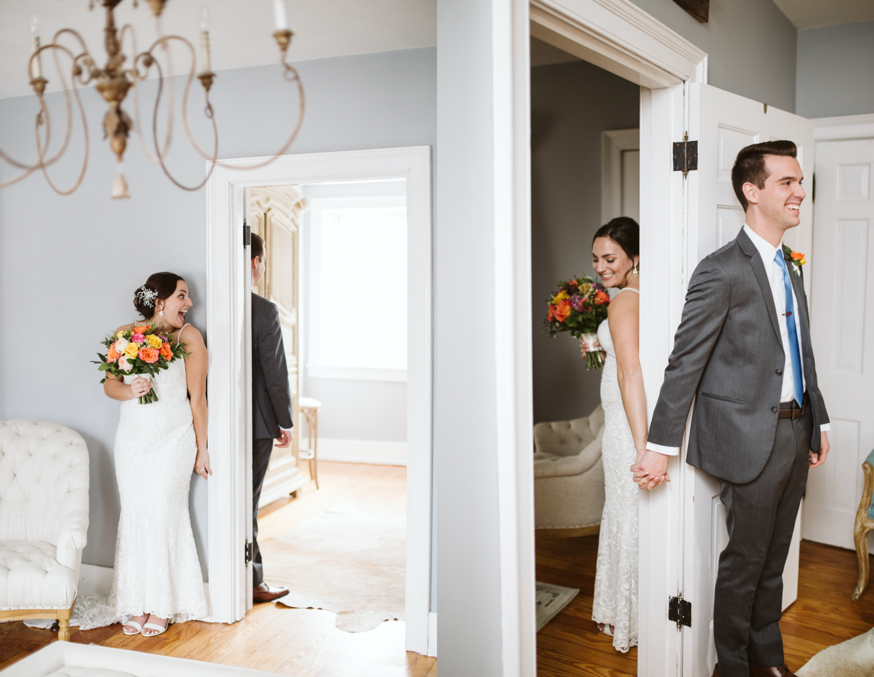 bride and groom pray around a door frame before their stone house of st charles wedding