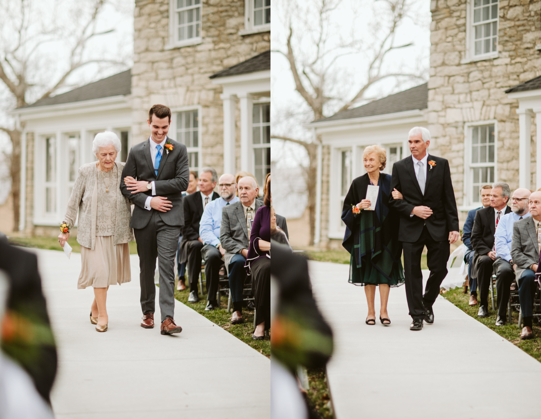 Grandparents walking down the aisle before a wedding at the stone house of st charles